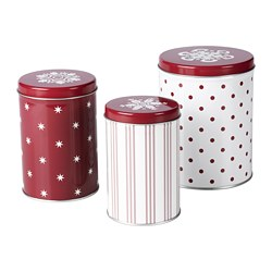 VINTER 2020 - Tin with lid, set of 3, mixed sizes white/red