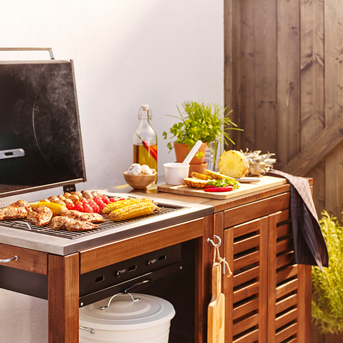 ÄPPLARÖ/KLASEN - charcoal barbecue with cabinet, brown stained   IKEA Indonesia - PE565999_S4