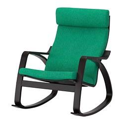 POÄNG - Kursi goyang, hitam-cokelat/Lysed hijau terang