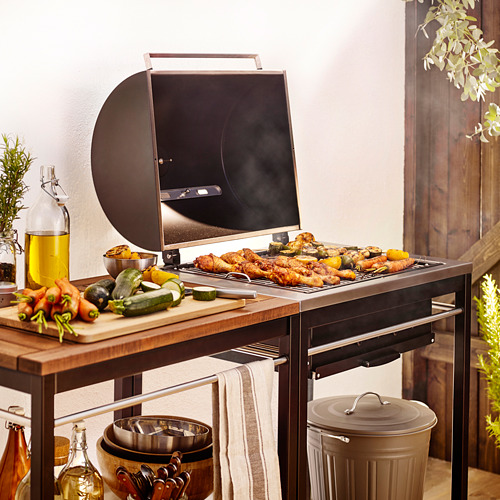 KLASEN - charcoal barbecue with trolley, brown   IKEA Indonesia - PE566028_S4
