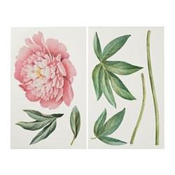 KINNARED - Stiker dekorasi, Peony merah muda