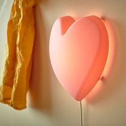UPPLYST - LED wall lamp, heart pink