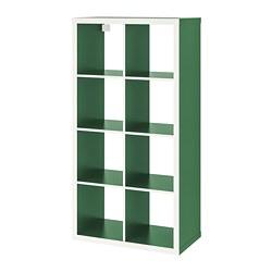 KALLAX - Unit rak, putih/hijau