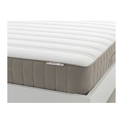 HAMARVIK - Sprung mattress, medium firm/dark beige, 90x200 cm