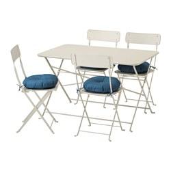 SALTHOLMEN - Meja+4 kursi lipat, luar ruang, krem/Ytterön biru