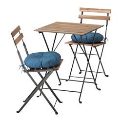 TÄRNÖ - Meja+2 kursi, luar ruang, diwarnai hitam/cokelat terang/Ytterön biru