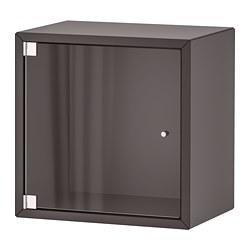 EKET - Wall cabinet with glass door, dark grey