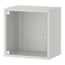 EKET - Wall cabinet with glass door, light grey
