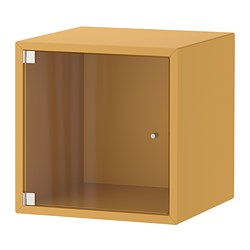 EKET - Wall cabinet with glass door, golden-brown