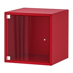 EKET - Wall cabinet with glass door, red