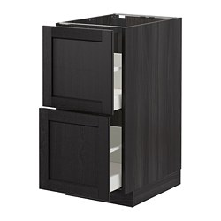 MAXIMERA/METOD - Kab dsr 2 bag dpn/2laci tinggi, hitam/Lerhyttan diwarnai hitam