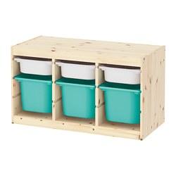 TROFAST - Kombinasi penyimpanan dgn kotak, pinus diwarnai putih muda putih/toska