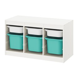 TROFAST - Storage combination with boxes, white/turquoise