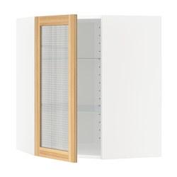 METOD - Kabinet sudut dg rak/pintu kaca, putih/Torhamn kayu ash