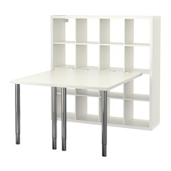 KALLAX - Kombinasi meja, putih/dilapisi krom