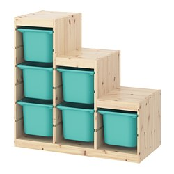 TROFAST - Storage combination, light white stained pine/turquoise
