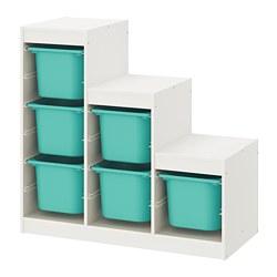 TROFAST - Storage combination, white/turquoise