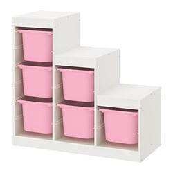 TROFAST - Storage combination, white/pink