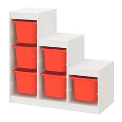 TROFAST - Storage combination, white/orange