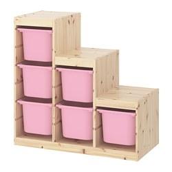 TROFAST - Kombinasi penyimpanan, pinus diwarnai putih muda/merah muda