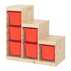 TROFAST - Storage combination, light white stained pine/orange