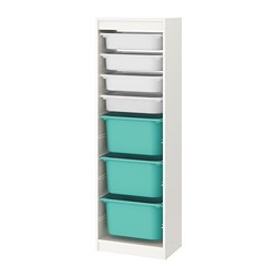 TROFAST - Storage combination with boxes, white/white turquoise