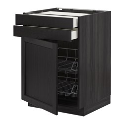 METOD - Kab dasar dg pintu/2 laci/krnjg kwt, hitam Maximera/Lerhyttan diwarnai hitam