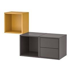 EKET - Wall-mounted storage combination, golden-brown/dark grey