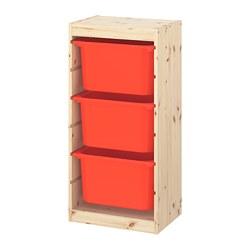 TROFAST - Kombinasi penyimpanan dgn kotak, pinus diwarnai putih muda/oranye