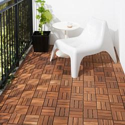 RUNNEN - Floor decking, outdoor, brown stained, 0.81 m²