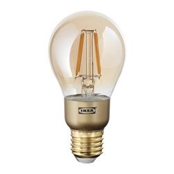 LUNNOM - LED bulb E27 400 lumen, dimmable/globe brown clear glass