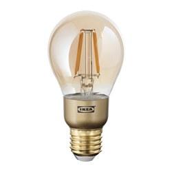 LUNNOM - Bohlam LED E27 400 lumen, dapat diredupkan/bulat kaca bening cokelat