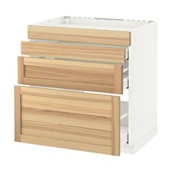 METOD - Base cab f hob/4 fronts/3 drawers, white Maximera/Torhamn ash