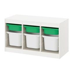 TROFAST - Storage combination with boxes, white green/white