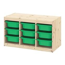 TROFAST - Kombinasi penyimpanan dgn kotak, pinus diwarnai putih muda/hijau