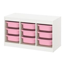 TROFAST - Kombinasi penyimpanan dgn kotak, putih/merah muda
