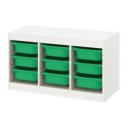 TROFAST - Kombinasi penyimpanan dgn kotak, putih/hijau