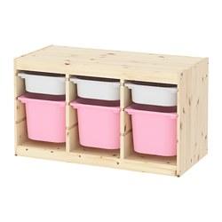 TROFAST - Kombinasi penyimpanan dgn kotak, pinus diwarnai putih muda putih/merah muda