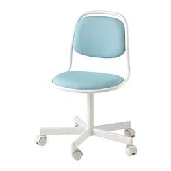 ÖRFJÄLL - Kursi untuk meja anak, putih/Vissle biru/hijau