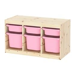TROFAST - Kombinasi penyimpanan dgn kotak, pinus diwarnai putih muda merah muda/merah muda