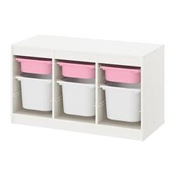 TROFAST - Kombinasi penyimpanan dgn kotak, putih merah muda/putih