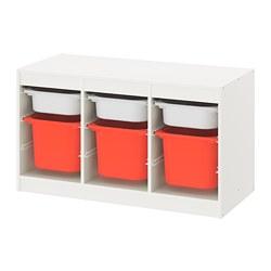 TROFAST - Kombinasi penyimpanan dgn kotak, putih putih/oranye