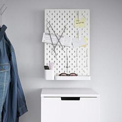 SKÅDIS - SKÅDIS, kombinasi papan berlubang, putih, 36x56 cm