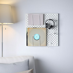 SKÅDIS - Kombinasi papan berlubang, putih, 56x56 cm