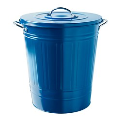 KNODD - Bin with lid, dark blue