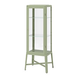 FABRIKÖR - Glass-door cabinet, pale grey-green