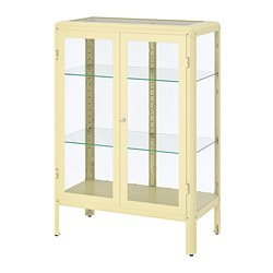FABRIKÖR - Glass-door cabinet, light yellow