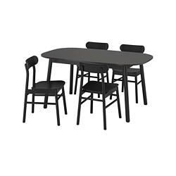 RÖNNINGE/VEDBO - Meja dan 4 kursi, hitam/hitam