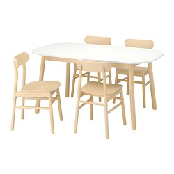 RÖNNINGE/VEDBO - Table and 4 chairs, white/birch