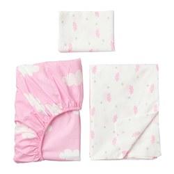HIMMELSK - Seprai u ranjang bayi, set isi 3, merah muda